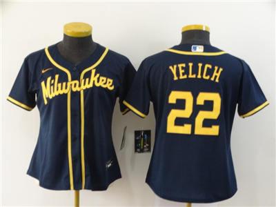 Women's Brewers #22 Christian Yelich Navy 2020 Baseball Cool Base Jersey