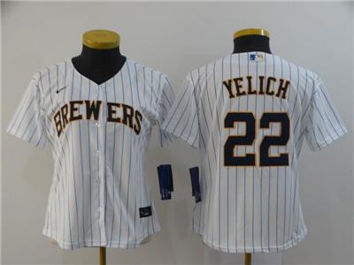 Women's Brewers #22 Christian Yelich White Strip 2020 Stitched Baseball Cool Base Jersey