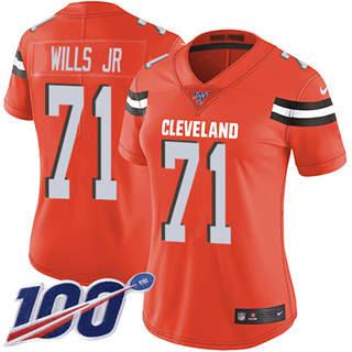 Women's Browns #71 Jedrick Wills JR Orange Alternate Stitched Football 100th Season Vapor Untouchable Limited Jersey
