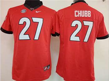 Women's Bulldogs #27 Nick Chubb Red Stitched NCAA Jersey