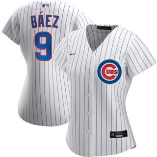 Women's Chicago Cubs #9 Javier Baez Home 2020 Baseball Player Jersey White