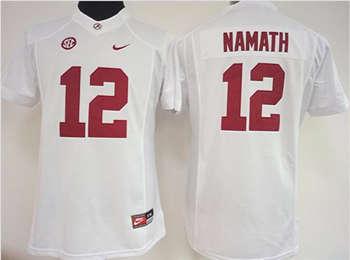 Women's Crimson Tide #12 Joe Namath White Stitched NCAA Jersey