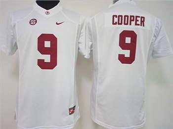 Women's Crimson Tide #9 Amari Cooper White Stitched NCAA Jersey