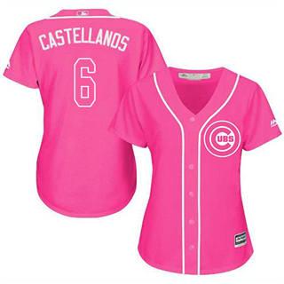 Women's Cubs #6 Nicholas Castellanos Pink Fashion Stitched Baseball Jersey