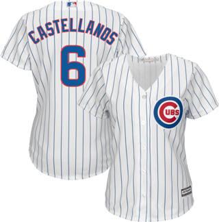Women's Cubs #6 Nicholas Castellanos White(Blue Strip) Home Stitched Baseball Jersey