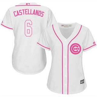 Women's Cubs #6 Nicholas Castellanos White Pink Fashion Stitched Baseball Jersey