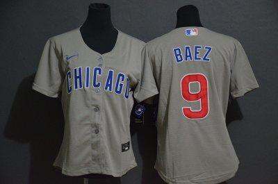 Women's Cubs #9 Javier Baez Gray 2020 Baseball Cool Base Jersey