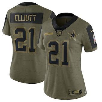 Women's Dallas Cowboys Ezekiel Elliott Football Olive 2021 Salute To Service Limited Player Jersey