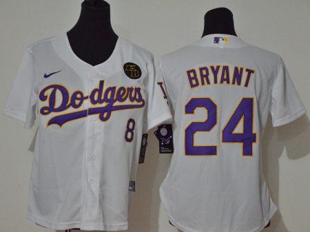 Women's Dodgers #8-24 Kobe Bryant White Purple No. 2020 KB Patch Baseball Cool Base Jersey