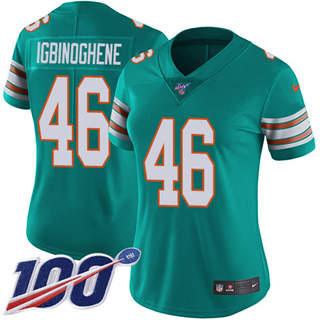 Women's Dolphins #46 Noah Igbinoghene Aqua Green Alternate Stitched Football 100th Season Vapor Untouchable Limited Jersey