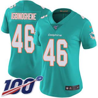 Women's Dolphins #46 Noah Igbinoghene Aqua Green Team Color Stitched Football 100th Season Vapor Untouchable Limited Jersey