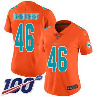 Women's Dolphins #46 Noah Igbinoghene Orange Stitched Football Limited Inverted Legend 100th Season Jersey