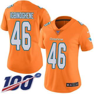 Women's Dolphins #46 Noah Igbinoghene Orangen Stitched Football Limited Rush 100th Season Jersey