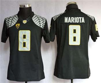 Women's Ducks #8 Marcus Mariota Black Limited Stitched NCAA Jersey