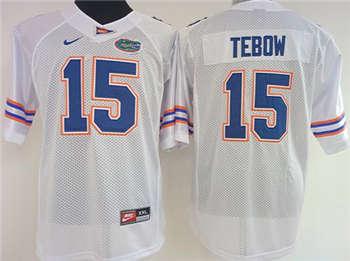 Women's Gators #15 Tim Tebow White Stitched NCAA Jersey