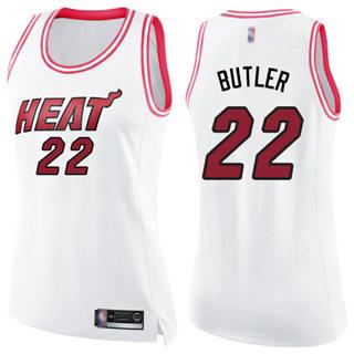 Women's Heat #22 Jimmy Butler White Pink Basketball Swingman Fashion Jersey
