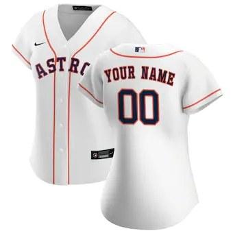 Women's Houston Astros 2020 Home Replica Custom Jersey - White
