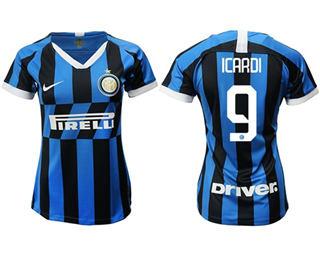 Women's Inter Milan #9 Icardi Home Soccer Club Jersey