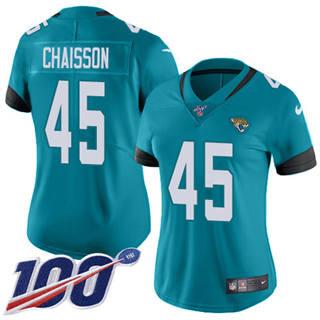Women's Jaguars #45 K'Lavon Chaisson Teal Green Alternate Stitched Football 100th Season Vapor Untouchable Limited Jersey