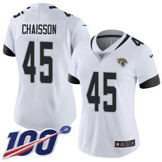 Women's Jaguars #45 K'Lavon Chaisson White Stitched Football 100th Season Vapor Untouchable Limited Jersey