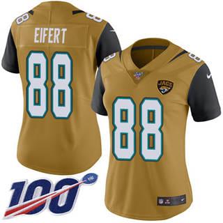 Women's Jaguars #88 Tyler Eifert Gold Stitched Football Limited Rush 100th Season Jersey