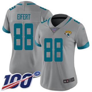 Women's Jaguars #88 Tyler Eifert Silver Stitched Football Limited Inverted Legend 100th Season Jersey
