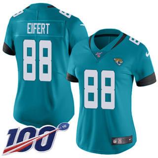 Women's Jaguars #88 Tyler Eifert Teal Green Alternate Stitched Football 100th Season Vapor Untouchable Limited Jersey