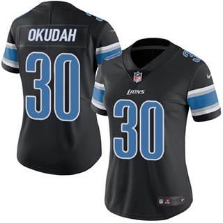Women's Lions #30 Jeff Okudah Black Stitched Football Limited Rush Jersey
