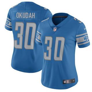 Women's Lions #30 Jeff Okudah Blue Team Color Stitched Football Vapor Untouchable Limited Jersey