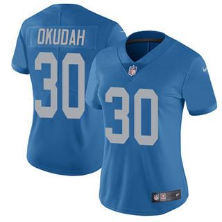 Women's Lions #30 Jeff Okudah Blue Throwback Stitched Football Vapor Untouchable Limited Jersey
