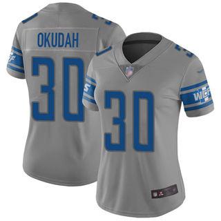 Women's Lions #30 Jeff Okudah Gray Stitched Football Limited Inverted Legend Jersey