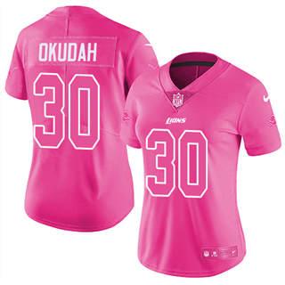 Women's Lions #30 Jeff Okudah Pink Stitched Football Limited Rush Fashion Jersey