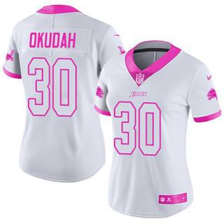 Women's Lions #30 Jeff Okudah White Pink Stitched Football Limited Rush Fashion Jersey