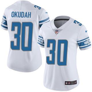 Women's Lions #30 Jeff Okudah White Stitched Football Vapor Untouchable Limited Jersey