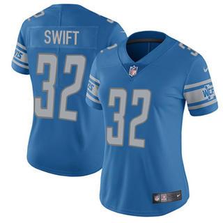 Women's Lions #32 D'Andre Swift Blue Team Color Stitched Football Vapor Untouchable Limited Jersey