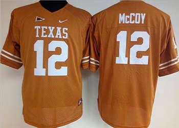 Women's Longhorns #12 Colt McCoy Orange Stitched NCAA Jersey