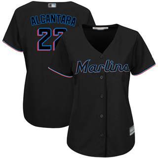 Women's Marlins #22 Sandy Alcantara Black Alternate Stitched Baseball Jersey