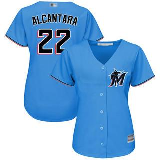 Women's Marlins #22 Sandy Alcantara Blue Alternate Stitched Baseball Jersey