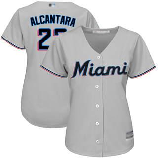 Women's Marlins #22 Sandy Alcantara Grey Road Stitched Baseball Jersey