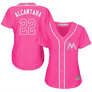 Women's Marlins #22 Sandy Alcantara Pink Fashion Stitched Baseball Jersey