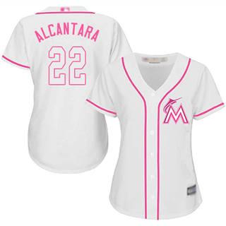 Women's Marlins #22 Sandy Alcantara White Pink Fashion Stitched Baseball Jersey