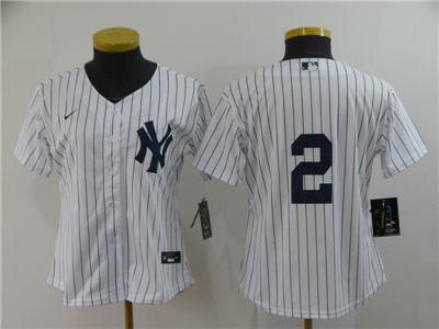Women's New York Yankees #2 Derek Jeter White Home 2020 Baseball Player Jersey