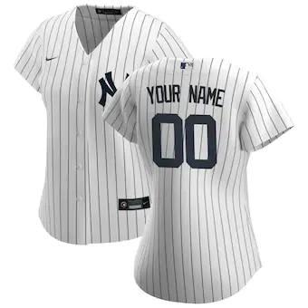 Women's New York Yankees 2020 Home Replica Custom Jersey - White Navy