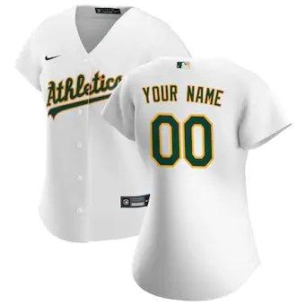 Women's Oakland Athletics 2020 Home Replica Custom Jersey - White