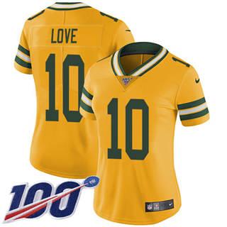 Women's Packers #10 Jordan Love Yellow Stitched Football Limited Rush 100th Season Jersey