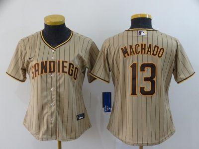 Women's Padres #13 Manny Machado Brown Strip 2020 Baseball Cool Base Jersey