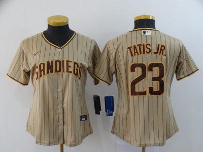 Women's Padres #23 Fernando Tatis Jr. Brown Strip 2020 Baseball Cool Base Jersey