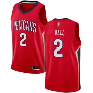 Women's Pelicans #2 Lonzo Ball Red Basketball Swingman Statement Edition Jersey