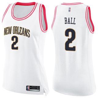 Women's Pelicans #2 Lonzo Ball White Pink Basketball Swingman Fashion Jersey