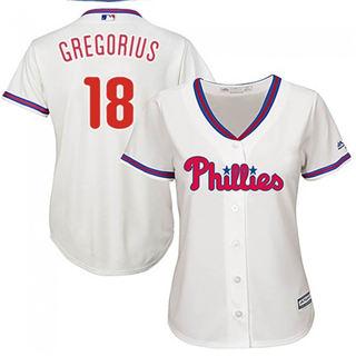 Women's Phillies #18 Didi Gregorius Cream Alternate Stitched Baseball Jersey